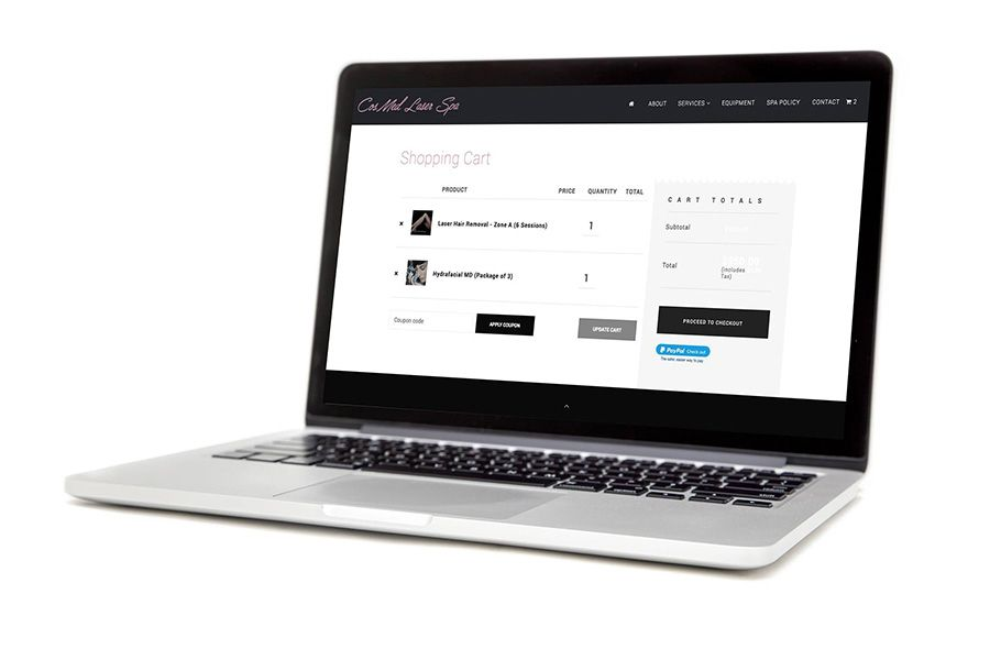 salon spa ecommerce website