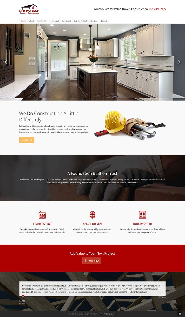 construction custom website